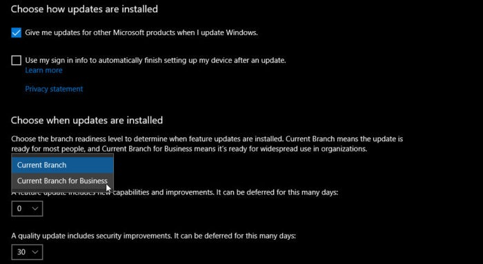 choose how updates are installed 1703