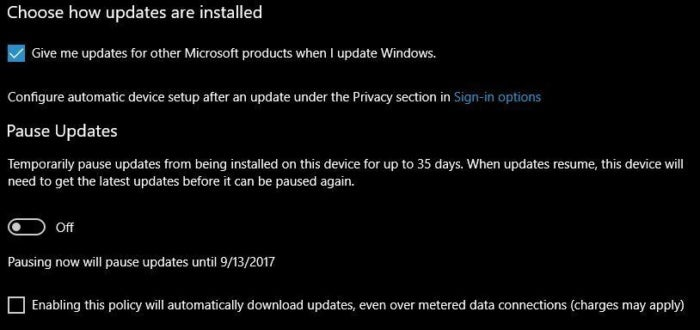 choose how updates are installed 1709