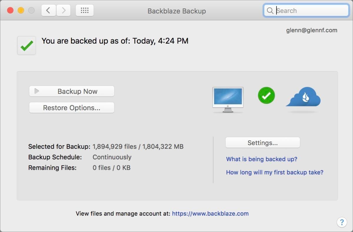 crashplan backblaze backup screen
