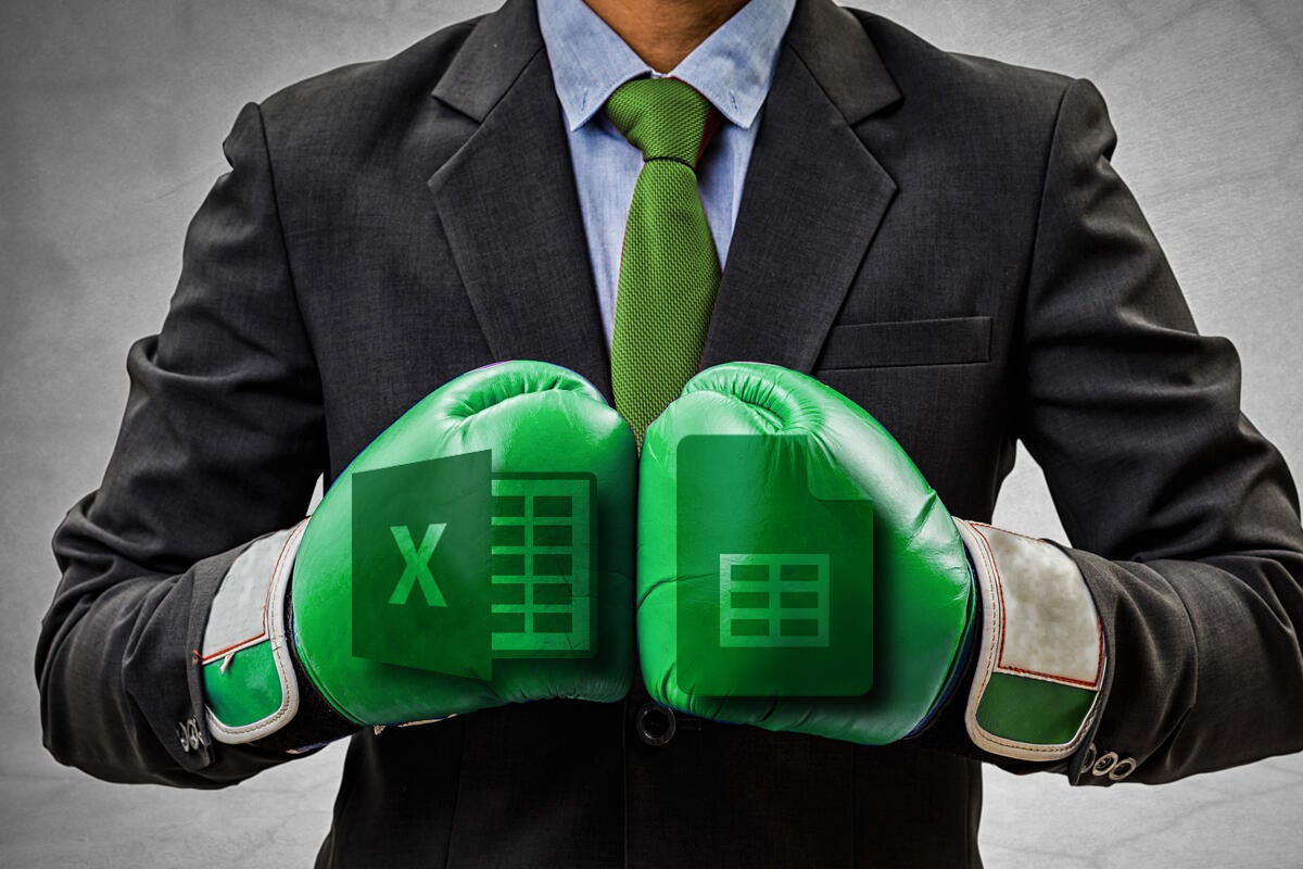 Man with boxing gloves Excel versus Google Sheets