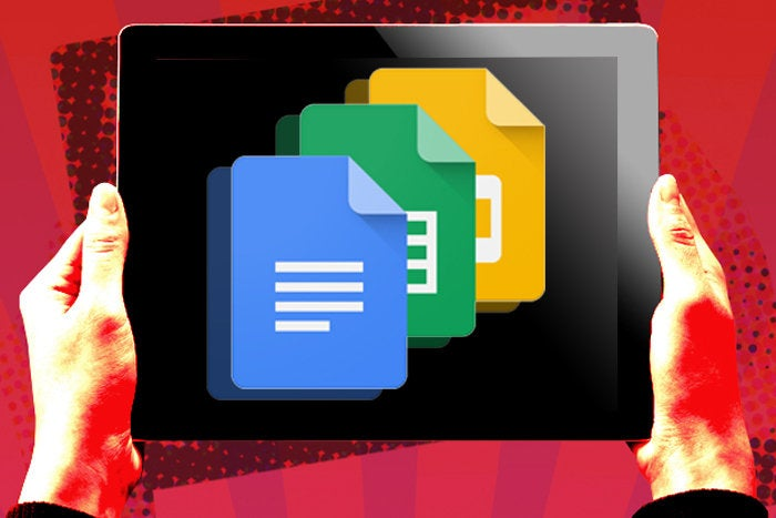 hand holding tablet with google docs icons