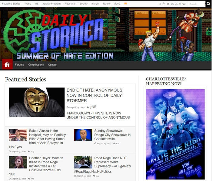 GoDaddy kicks Daily Stormer, which then claimed Anonymous hacked it