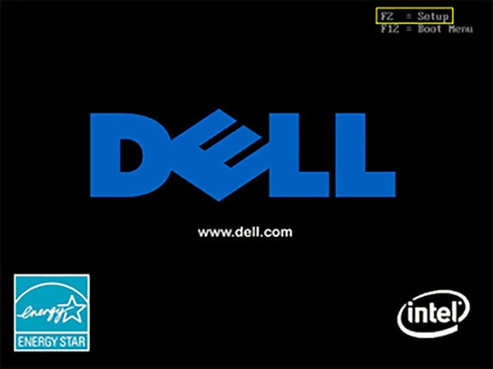 dell bios startup select