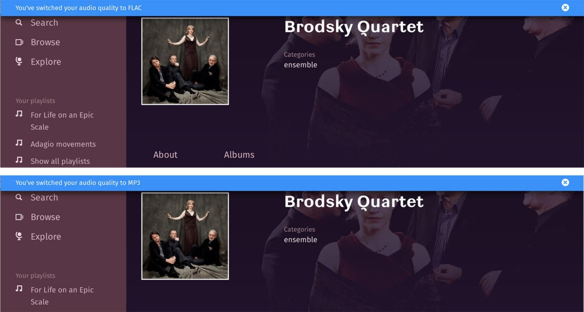 You can choose to stream classical works in FLAC or MP3.