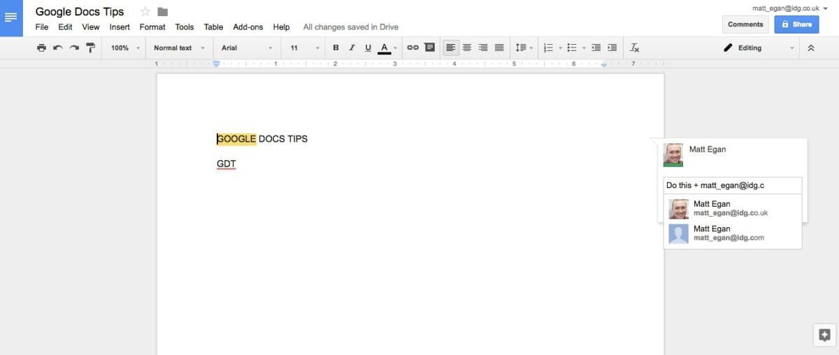 google docs tips add comment