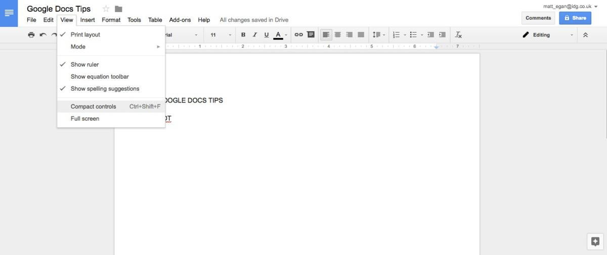 google docs tips compact controls