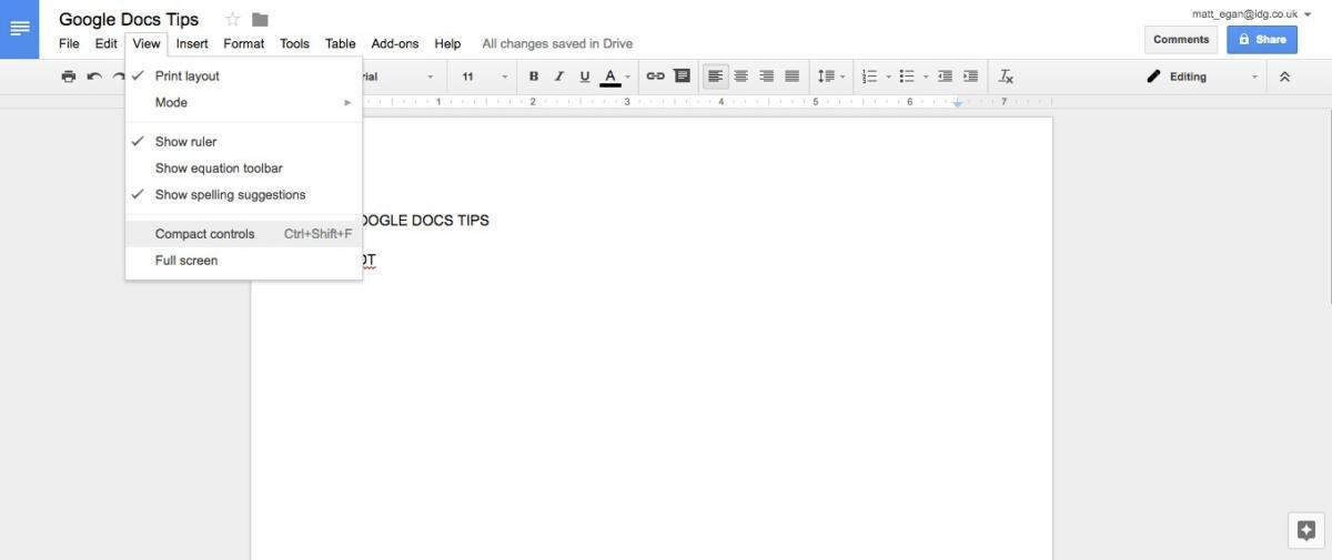 google docs tips compact controls