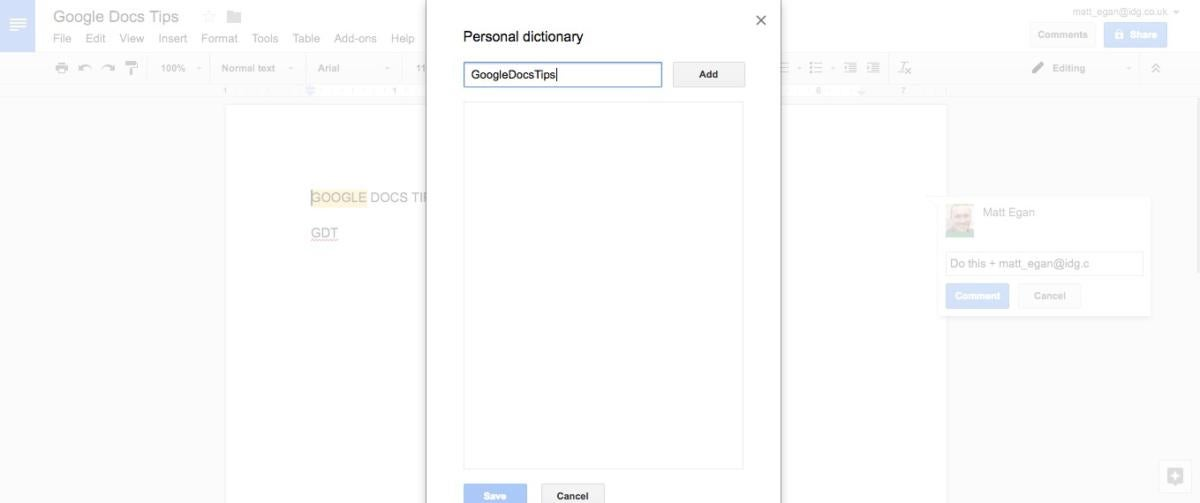 google docs tips personal dictionary
