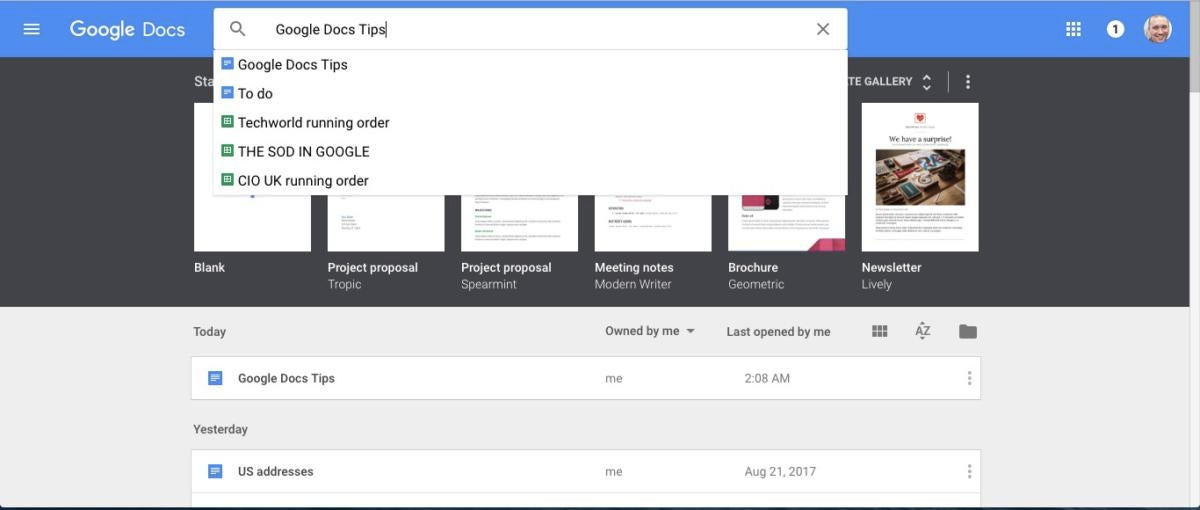 google docs tips search