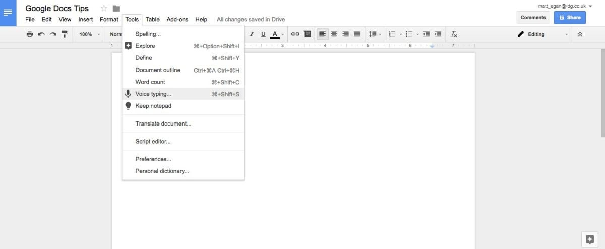 google docs tips voice typing