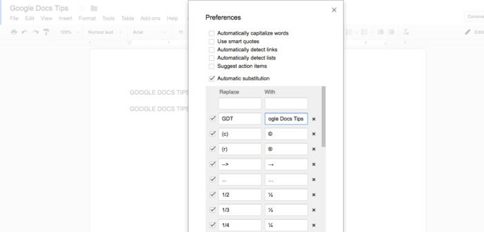 google docs tips write repeated text