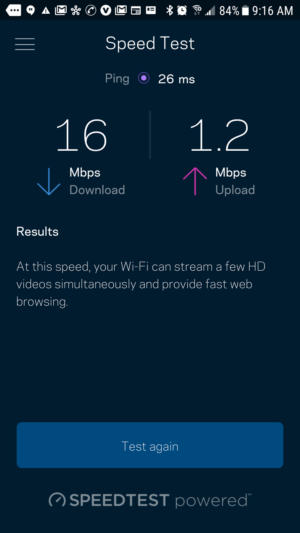 linksys speedtest