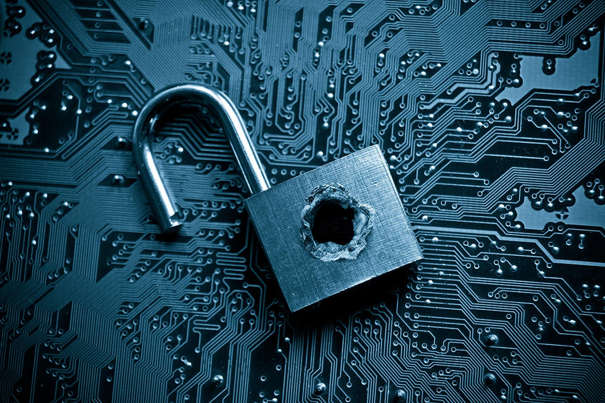 lock circuit board bullet hole computer security breach