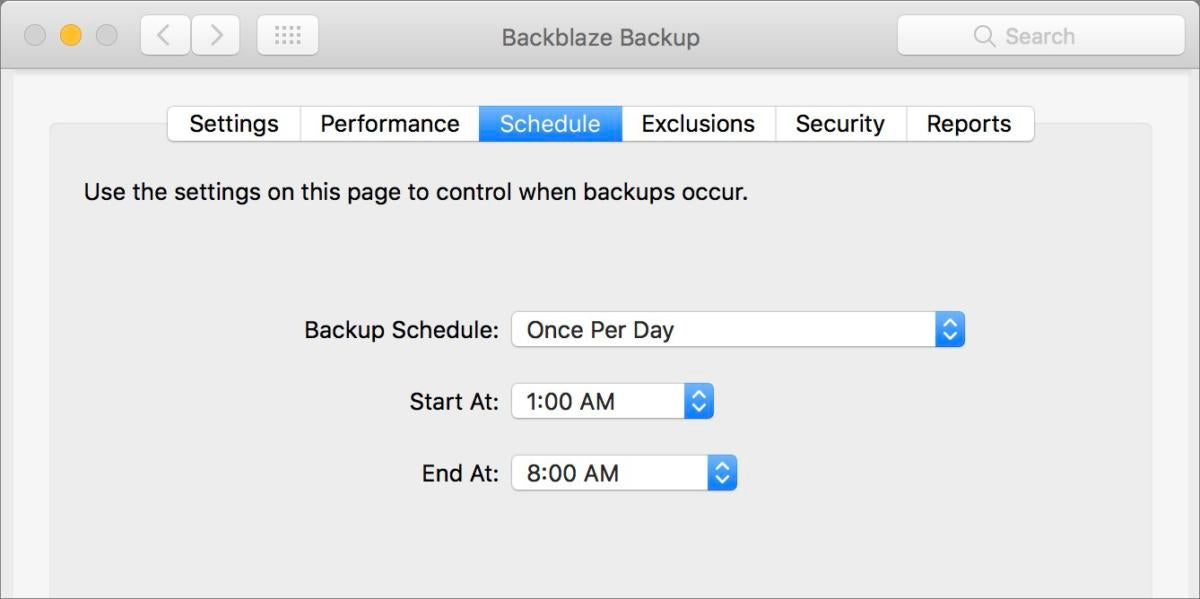 mac911 backblaze schedule preference
