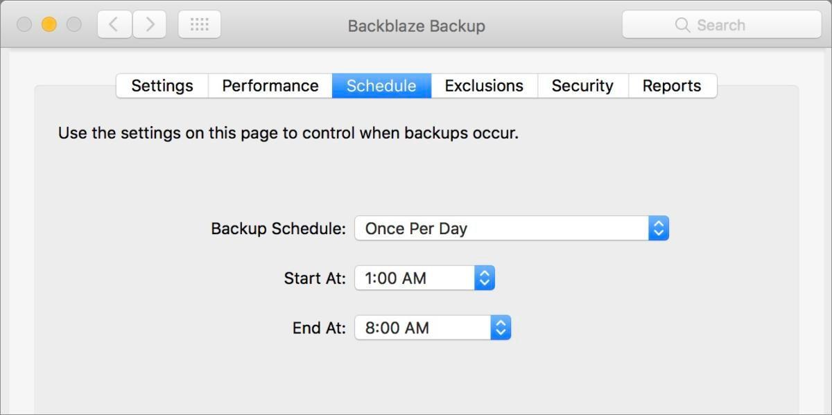 mac911 backblaze schedule preference