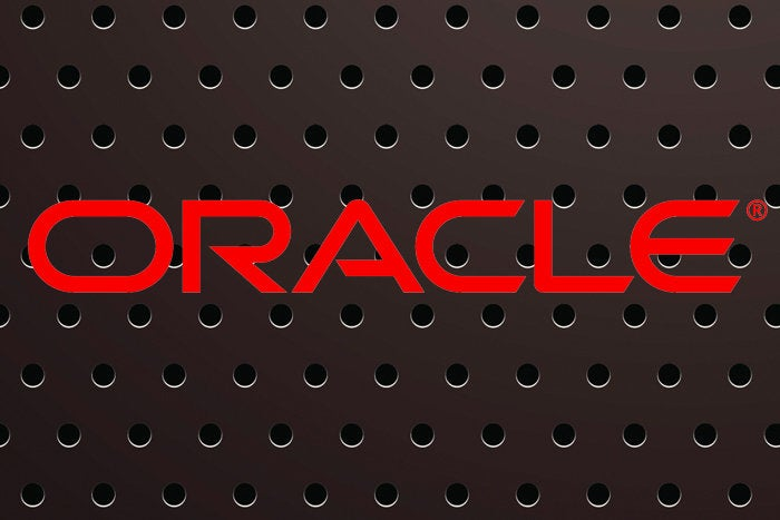 oracle logo on black metal background