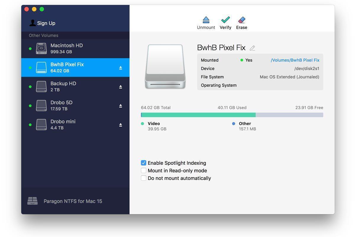 paragon ntfs for mac 15 user interface