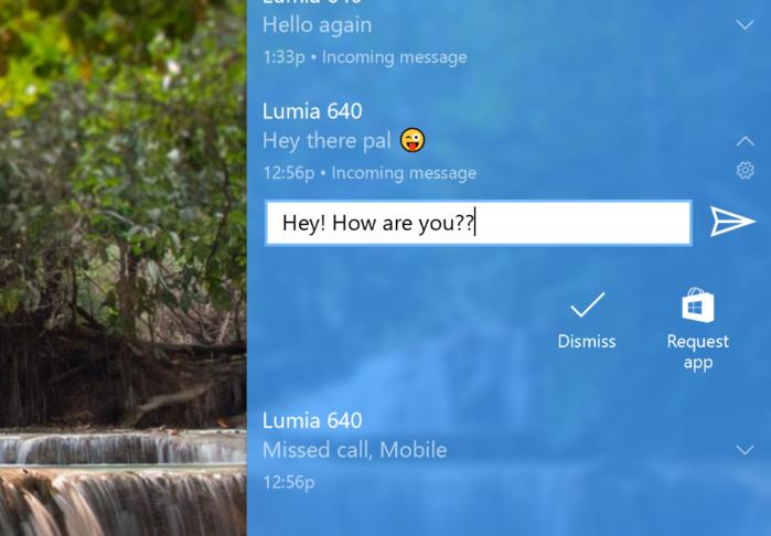 windows 10 and phone respond right in notifications