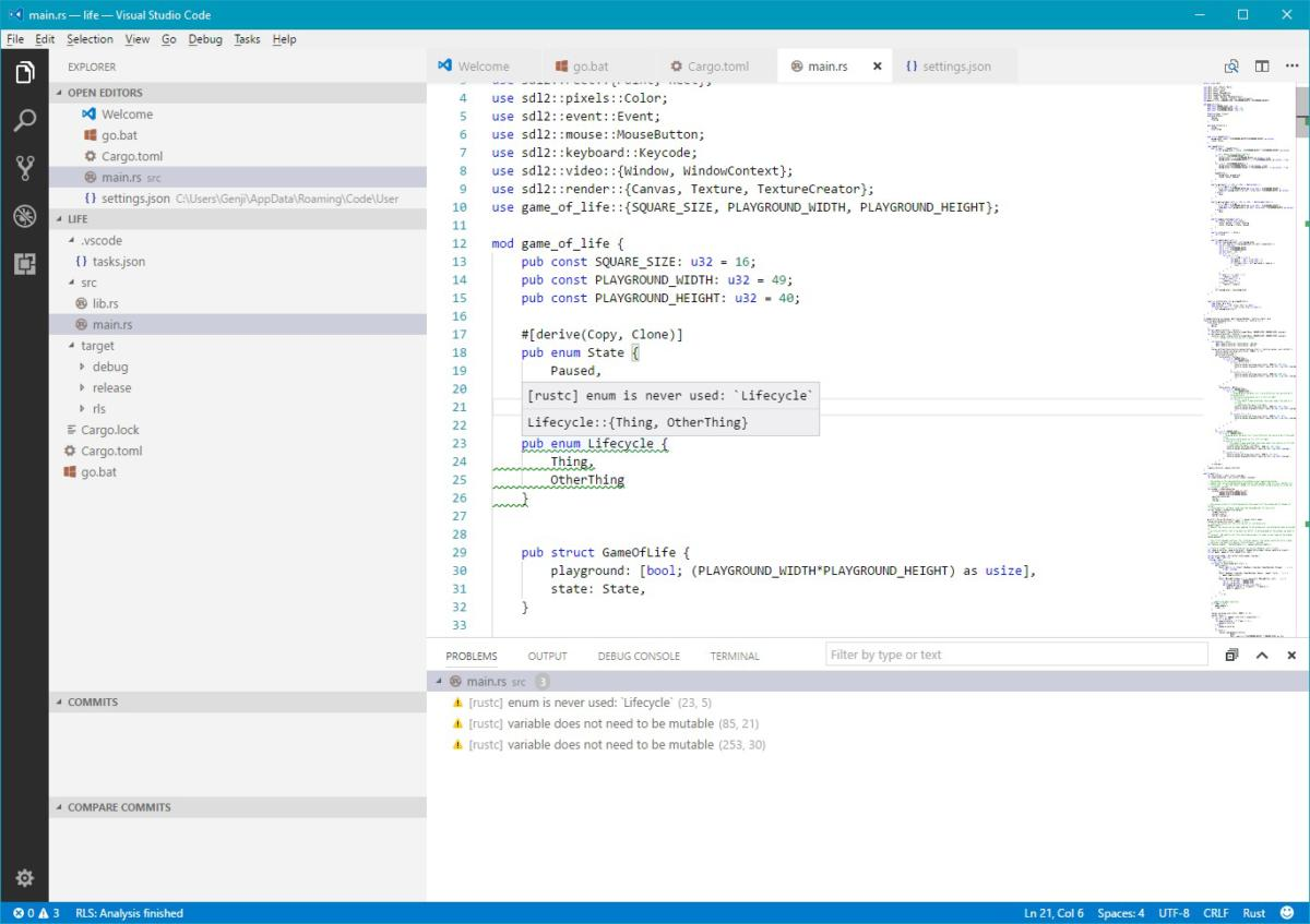 rust feedback in visual studio screenshot