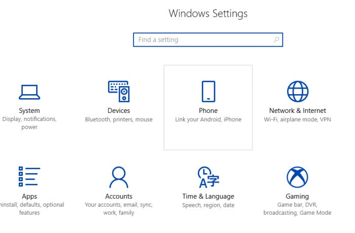 Windows 10 to PC notification settings phone
