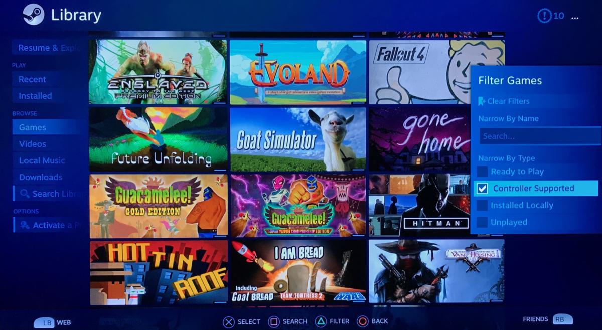 steam link 6 games and filter