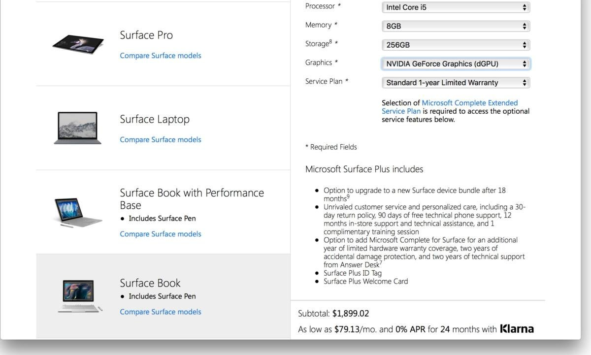 surface plus program screen