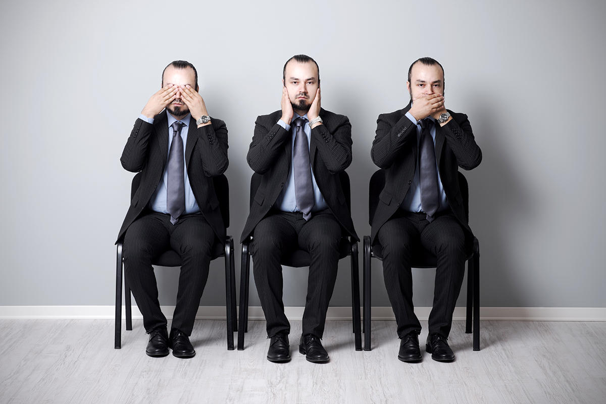 Three businessmen - see no evil, hear no evil, speak no evil. [Thinkstock]