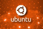 ubuntu logo on network background