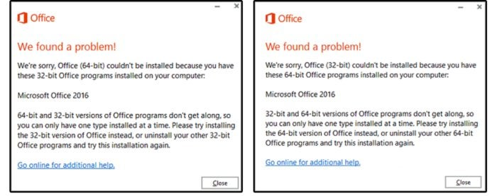 03 cannot mix 64 bit 32 bit versions of office