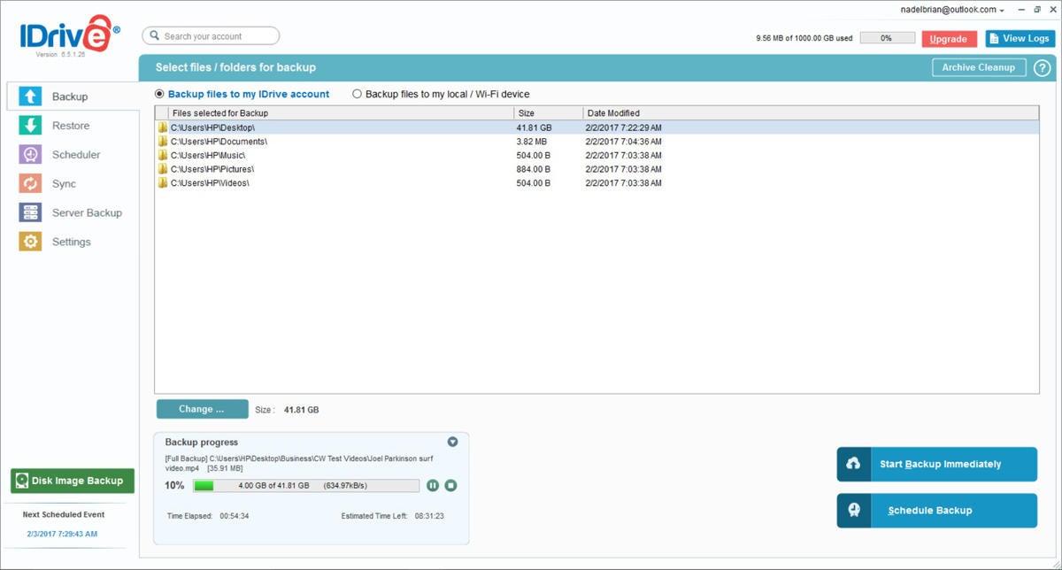 online backup software - IDrive backup screen