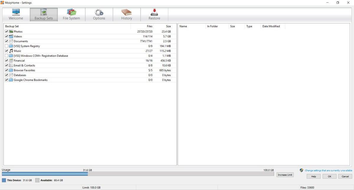 online backup software - MozyHome backup screen