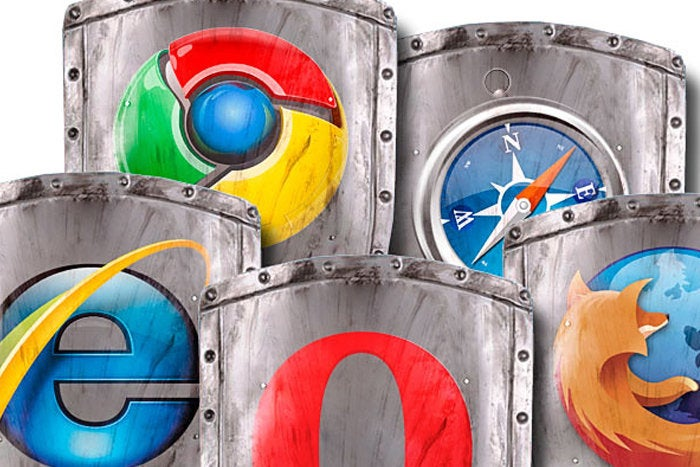 browser wars shields with logos at battle