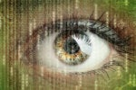 data science certification eye with raining binary numbers