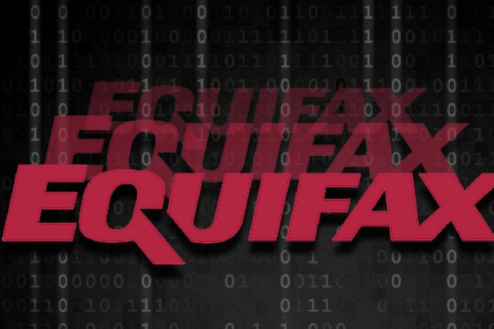 Equifax logo on binary background