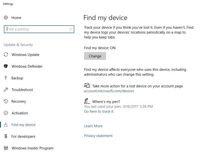 find my pen Fall creators Update Windows 10