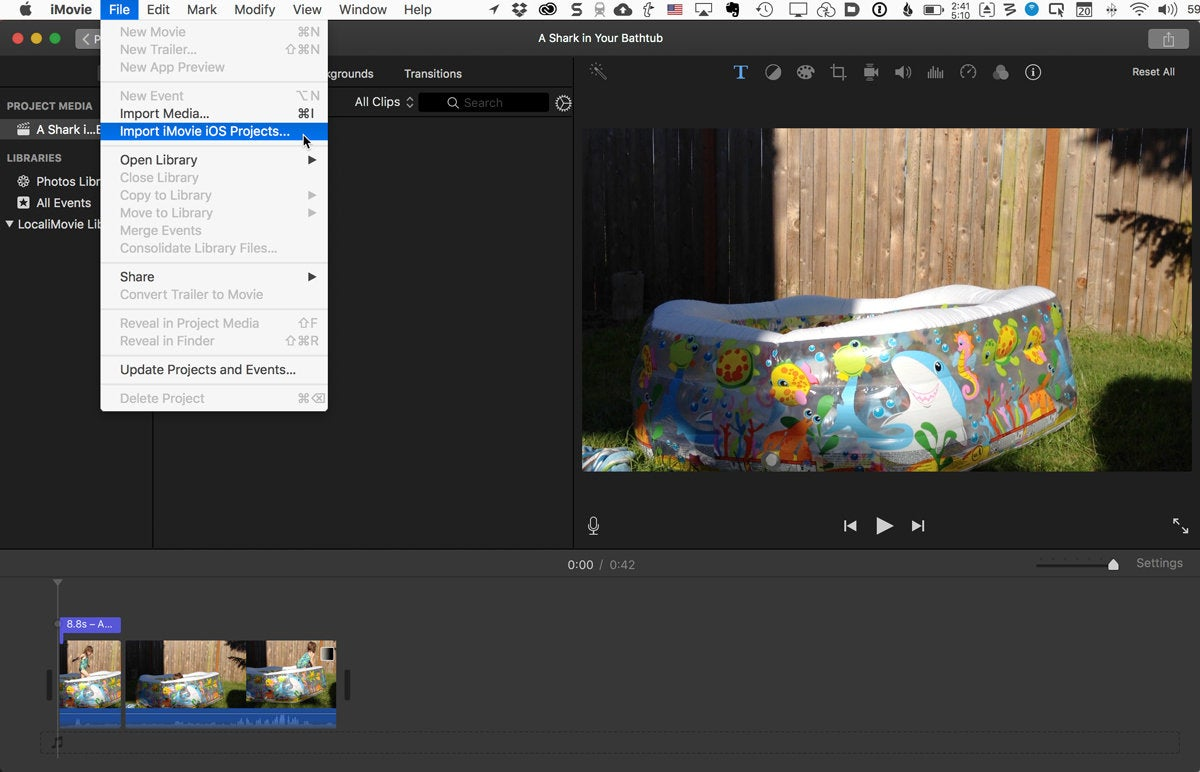 imovie mac import menu