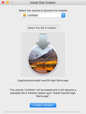 install disk creator high sierra
