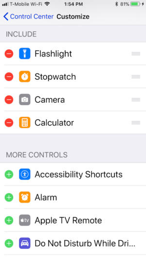 ios 11 control center settings