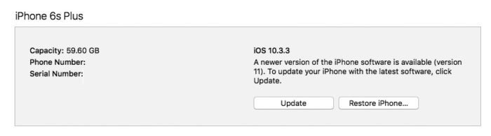 ios 11 update itunes