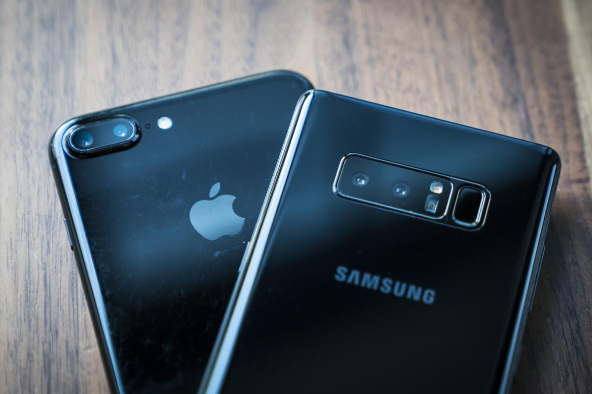 Apple IPhone 7 Plus And Samsung Galaxy Note 8 Cameras