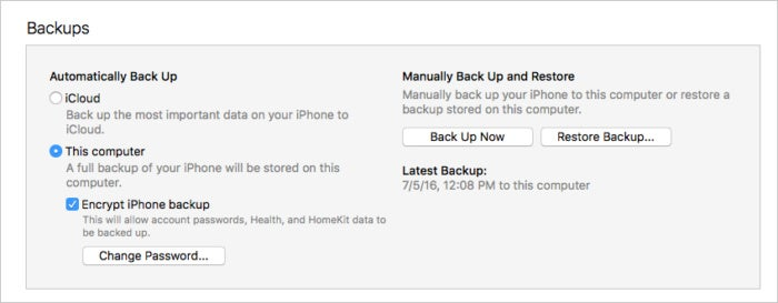 itunes backup iphone encrypted