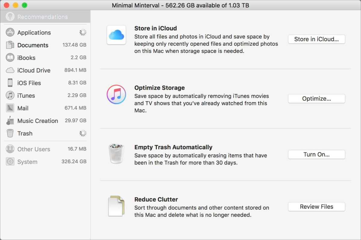 mac911 manage storage optimizing