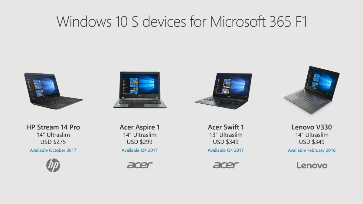 new windows 10 s pcs