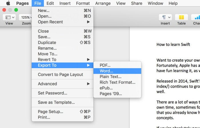pages export to word