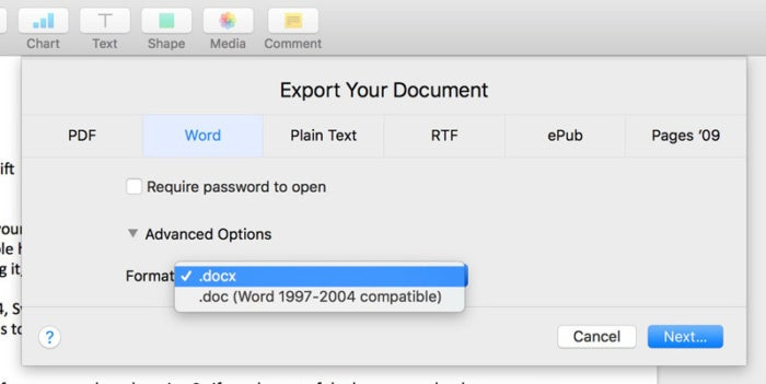 pages export your document