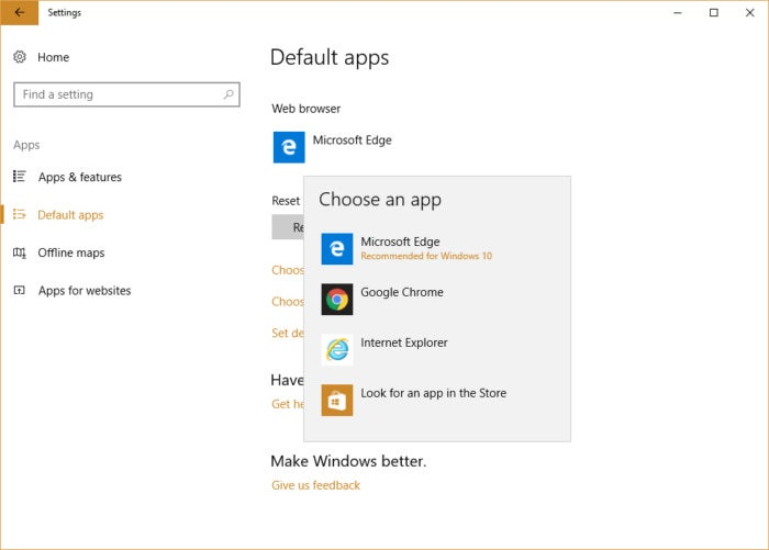 Windows 10 settings - selecting a new default browser
