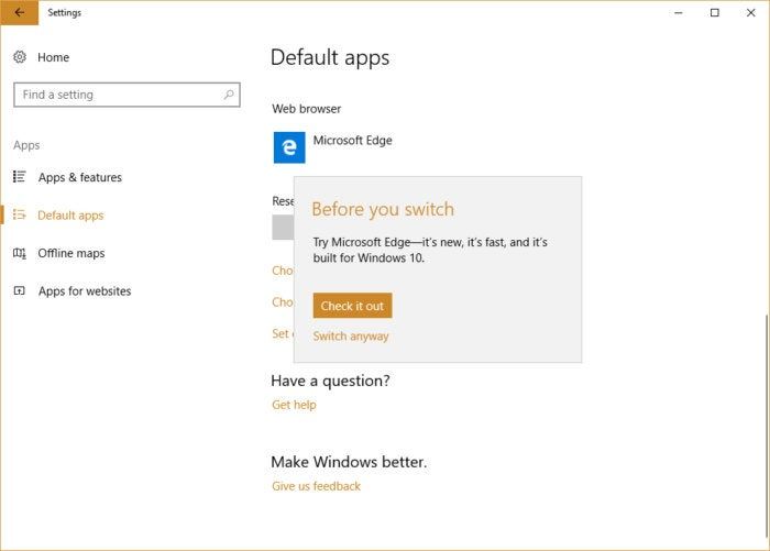 Windows 10 settings - before you switch browsers popup