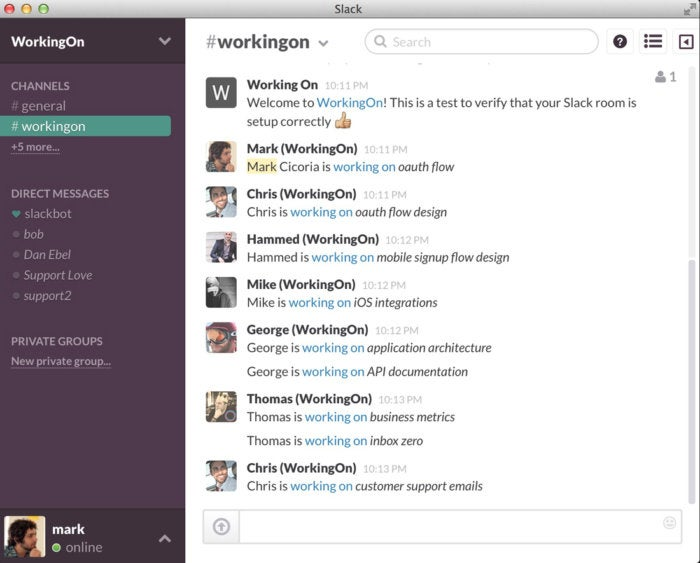 Slack apps - WorkingOn