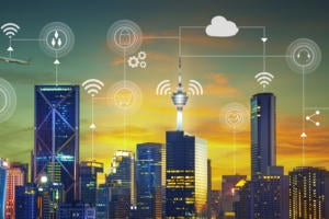 City scape with superimposed internet of things icons