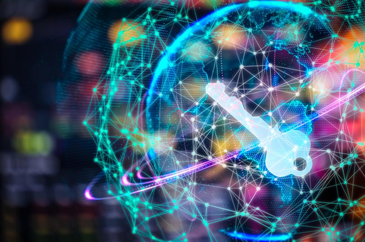 virtual key floating on top of digital network